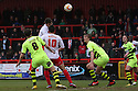 Dani Lopez of Stevenage heads for goal. Stevenage v Yeovil Town- npower League 1 -  Lamex Stadium, Stevenage - 13th April, 2013. © Kevin Coleman 2013.. . . . .. . . .  . . .  .