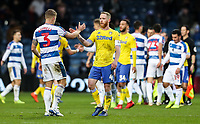 Players from both teams shake hands at the end of the match<br /> <br /> Photographer Andrew Kearns/CameraSport<br /> <br /> The Emirates FA Cup Third Round - Queens Park Rangers v Leeds United - Sunday 6th January 2019 - Loftus Road - London<br />  <br /> World Copyright &copy; 2019 CameraSport. All rights reserved. 43 Linden Ave. Countesthorpe. Leicester. England. LE8 5PG - Tel: +44 (0) 116 277 4147 - admin@camerasport.com - www.camerasport.com