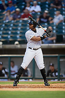 Birmingham Barons first baseman Keon Barnum (26) at bat during a game against the Pensacola Blue Wahoos on May 8, 2018 at Regions FIeld in Birmingham, Alabama.  Birmingham defeated Pensacola 5-2.  (Mike Janes/Four Seam Images)