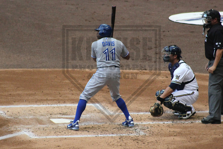 MILWAUKEE - June 2012: Rajai Davis (11) of the Toronto Blue Jays during a game against the Milwaukee Brewers on June 18, 2012 at Miller Park in Milwaukee, Wisconsin. (Photo by Brad Krause). ..