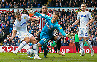 Leeds United's Kalvin Phillips hits the post with a shot in the second half<br /> <br /> Photographer Alex Dodd/CameraSport<br /> <br /> The EFL Sky Bet Championship - Leeds United v Brentford - Saturday 6th October 2018 - Elland Road - Leeds<br /> <br /> World Copyright &copy; 2018 CameraSport. All rights reserved. 43 Linden Ave. Countesthorpe. Leicester. England. LE8 5PG - Tel: +44 (0) 116 277 4147 - admin@camerasport.com - www.camerasport.com