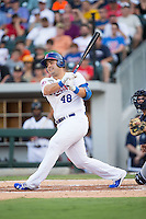 International League All-Star Jesus Montero (48) of the Buffalo Bisons follows through on his swing against the Pacific Coast League All-Stars at the 29th Annual Triple-A All-Star Game at BB&T BallPark on July 13, 2016 in Charlotte, North Carolina.  The International League defeated the Pacific Coast League 4-2.   (Brian Westerholt/Four Seam Images)