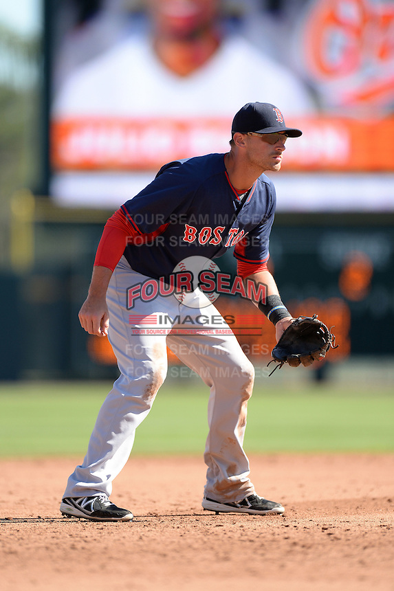 Boston Red Sox third baseman Will Middlebrooks (16) during a spring training game against the Baltimore Orioles on March 8, 2014 at Ed Smith Stadium in Sarasota, Florida.  Baltimore defeated Boston 7-3.  (Mike Janes/Four Seam Images)