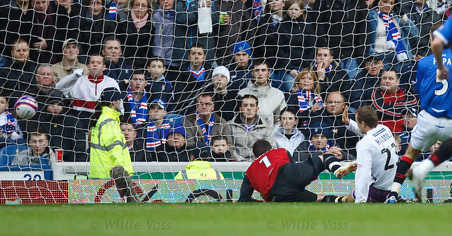 Jamie Hamill scores for Kilmarnock as he knocks the ball past Allan McGregor