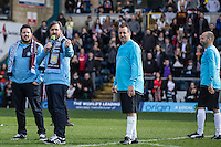 Stars of the Show (l-r) Sal Vulcano, Brian Quinn, Joseph Gatto & James Murray check the pitch during The Impractical Jokers (Hit US TV Comedy) filming at Wycombe Wanderers FC at Adams Park, High Wycombe, England on 5 April 2016. Photo by Andy Rowland. during The Impractical Jokers (Hit US TV Comedy) filming at Wycombe Wanderers FC at Adams Park, High Wycombe, England on 5 April 2016. Photo by Andy Rowland.