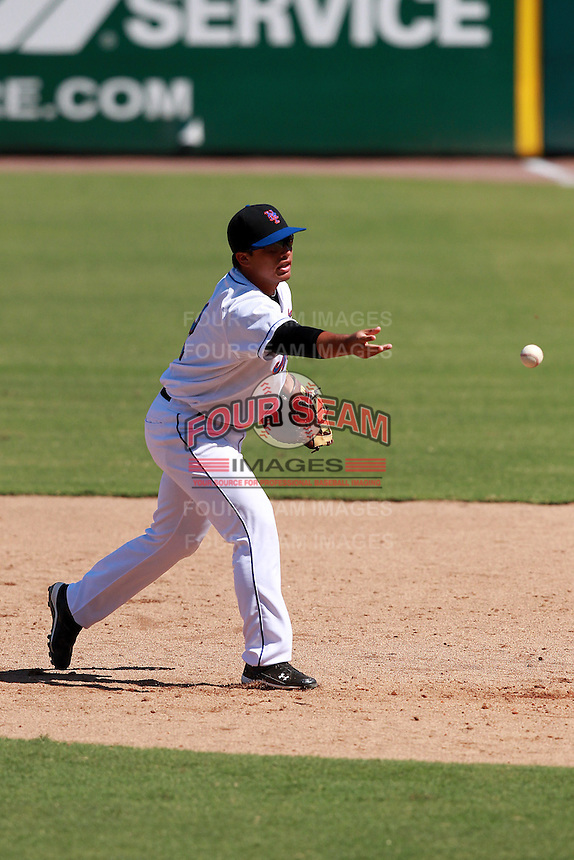 New York Mets minor league first baseman Albert Cordero (2) during a game vs. the Minnesota Twins in an Instructional League game at City of Palms Park in Fort Myers, Florida;  October 4, 2010.  Photo By Mike Janes/Four Seam Images