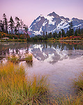 Mount Baker-Snoqualmie National Forest, WA: Picture Lake with reflections of Mount Shuksan under clear skies at dusk