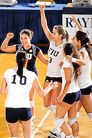 20 November 2008:  FIU's Yarimar Roa (3), Angelina Colon (4, left) and others celebrate winning a point during the FIU 3-1 victory over South Alabama in the first round of the Sun Belt Conference Championship tournament at FIU Stadium in Miami, Florida.