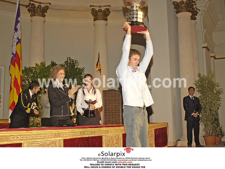 ALL ROUND PICTURES FROM SOLARPIX.COM..Queen Sofia of Spain presents the 37th Princess Sofia Trofeum Sailing award in Palma de Mallorca on 14.04.06.  Job Ref: 2251/SPA..MUST CREDIT SOLARPIX.COM OR DOUBLE FEE WILL BE CHARGED..
