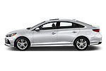 Car driver side profile view of a 2018 Hyundai Sonata Limited 4 Door Sedan