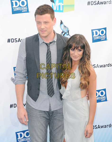 Cory Monteith & Lea Michele.The 2012 Do Something Awards at the Barker Hangar in Santa Monica, California, USA..August 19th, 2012  .half length  sleeveless dress white plunging neckline ruffle cleavage grey gray shirt waistcoat  .CAP/RKE/DVS.©DVS/RockinExposures/Capital Pictures.