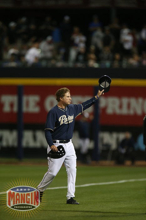 PEORIA, AZ - MARCH 12:  Actor Will Ferrell of the San Diego Padres  plays right field against the Los Angeles Dodgers during a spring training game at the Peoria Sports Complex on March 12, 2015 in Peoria, Arizona. (Photo by Brad Mangin)