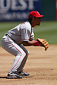 Maicer Izturis in action during the Los Angeles Angels v. Oakland Athletics game April 16, 2005.....Los Angeles Angels lost 0-1.....Rob Holt/ SportPics