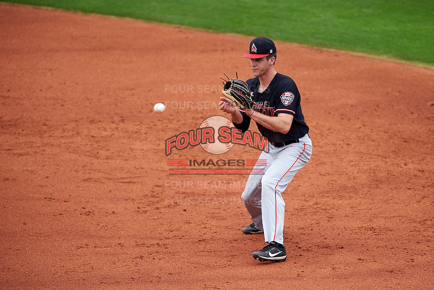 Ball State Cardinals second baseman Seth Freed (1) fields a ground ball during a game against the Alabama State Hornets on February 18, 2017 at Spectrum Field in Clearwater, Florida.  Ball State defeated Alabama State 3-2.  (Mike Janes/Four Seam Images)