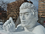 €A snow sculpture of 'Japanese rugby union player Ayumu Goromaru' is seen at Odori Park in Sapporo, Hokkaido, Japan on February 5, 2016. (Photo by AFLO)