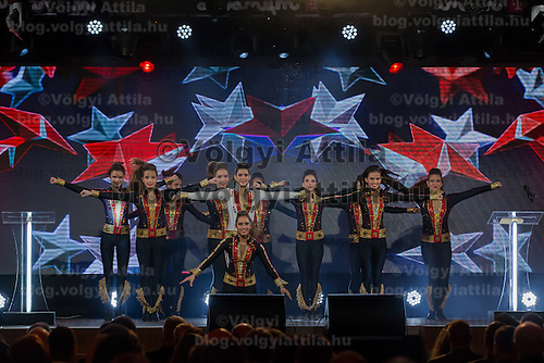 Dancers perform during the Sports Stars Gala held in Budapest, Hungary on December 18, 2014. ATTILA VOLGYI