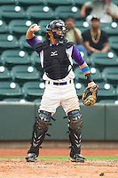 Winston-Salem Dash catcher Martin Medina (22) throws the ball back to the pitcher during the Carolina League game against the Frederick Keys at BB&T Ballpark on July 21, 2013 in Winston-Salem, North Carolina.  The Dash defeated the Keys 3-2.  (Brian Westerholt/Four Seam Images)