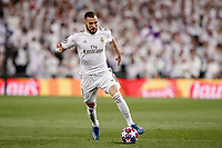 26th February 2020; Estadio Santiago Bernabeu, Madrid, Spain; UEFA Champions League Football, Real Madrid versus Manchester City; Karim Benzema (Real Madrid) comes forward into attack