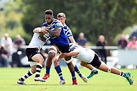 Levi Douglas of Bath United takes on the Bristol defence. Premiership Rugby Shield match, between Bristol Bears A and Bath United on August 31, 2018 at the Cribbs Causeway Ground in Bristol, England. Photo by: Patrick Khachfe / Onside Images