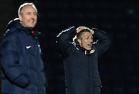 Wycombe Wanderers Manager Gareth Ainsworth holds his head during the The Checkatrade Trophy Southern Group D match between Wycombe Wanderers and Coventry City at Adams Park, High Wycombe, England on 9 November 2016. Photo by Andy Rowland.
