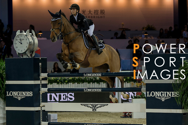 Jane Richard Philips of Switzerland riding Foica van den Bisschop during the Hong Kong Jockey Club Trophy competition, part of the Longines Masters of Hong Kong on 10 February 2017 at the Asia World Expo in Hong Kong, China. Photo by Marcio Rodrigo Machado / Power Sport Images