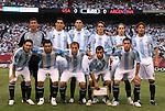 08 June 2008: Argentina's starters pose for a team shot. Front row (l to r): Lionel Messi (ARG), Sergio Arguero (ARG), Pablo Zabaleta (ARG), Javier Mascherano (ARG), Maxi Rodriguez (ARG). Back row: Roberto Abbondanzieri (ARG), Nicolas Burdisso (ARG), Julio Cruz (ARG), Gonzalo Javier Rodriguez (ARG), Fernando Gago (ARG), Gabriel Heinze (ARG). The Argentina Men's National Team and the United States Men's National Team played to a 0-0 tie at Giants Stadium in East Rutherford, New Jersey in an international friendly soccer match.
