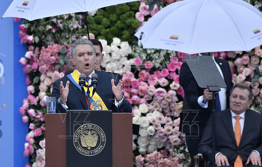 BOGOTÁ - COLOMBIA, 07-08-2018: Ivan Duque, se dirige a los asistentes después de tomar posesión como presidente de Colombia para el período constitucional 2018 - 22 durante ceremonia en la Plaza Bolívar el 7 de agosto de 2018 en Bogotá, Colombia. / Ivan Duque, speechs to the assistants after he takes office to constitutional term as president 2018 - 22 at Plaza Bolivar on August 7, 2018 in Bogota, Colombia. Photo: VizzorImage/ Gabriel Aponte / Staff