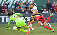 Portland, OR - Sunday Sept. 11, 2016: Sabrina D'Angelo, Nadia Nadim during a regular season National Women's Soccer League (NWSL) match between the Portland Thorns FC and the Western New York Flash at Providence Park.