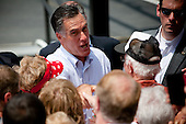 "Republican presidential candidate Mitt Romney greets supporters in Newark, Ohio. The rally is part of the Romney campaign's   ""Every Town Counts"" bus tour."