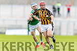 John Hussey Ballyduff in Action against Eoin Egan Abbeydorney in the Senior County Hurling Semi Final at Austin Stack Park on Sunday.