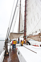Historic Tall Ship, A.J. Meerwald, sailing on the Delaware Bay, New Jersey