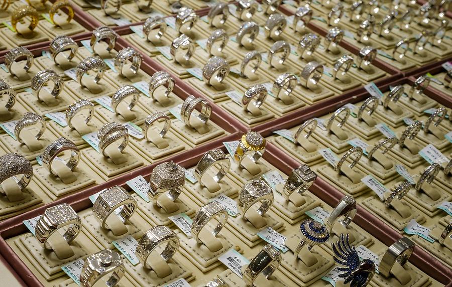 UNITED ARAB EMIRATES, DUBAI - CIRCA JANUARY 2017: Shop window with rings in the Gold Souq in Dubai