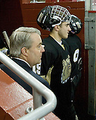 Gregory Boc (Bryant - Assistant Coach), Trevor Devitto (Bryant - 19) - The Boston College Eagles defeated the Bryant University Bulldogs 2-1 on Saturday, December 11, 2010, at Conte Forum in Chestnut Hill, Massachusetts.