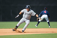 Tim Lynch (62) of the Pulaski Yankees puts on the breaks as he rounds second base during the game against the Danville Braves at American Legion Post 325 Field on July 31, 2016 in Danville, Virginia.  The Yankees defeated the Braves 8-3.  (Brian Westerholt/Four Seam Images)