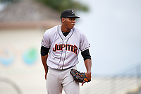Jupiter Hammerheads starting pitcher Jorge Guzman (10) looks in for the sign during a game against the Bradenton Marauders on May 25, 2018 at LECOM Park in Bradenton, Florida.  Jupiter defeated Bradenton 3-2.  (Mike Janes/Four Seam Images)