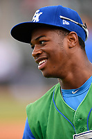 Center fielder Khalil Lee (9) of the Lexington Legends in a game against the Greenville Drive on Friday, June 30, 2017, at Fluor Field at the West End in Greenville, South Carolina. Lexington won, 17-7. (Tom Priddy/Four Seam Images)