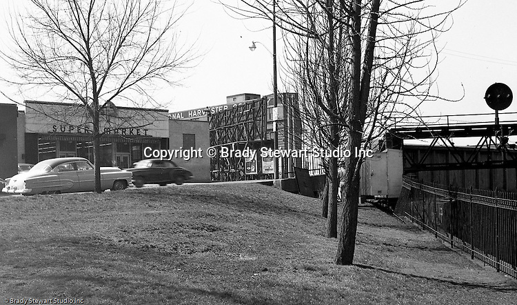 Pittsburgh PA:  Location photography of another Railway Express accident scene for attorney's Reed Smith, Shaw and McClay - 1952.  View of the A&P Super Market at the corner of Brighton Road and North Avenue on the North Side of Pittsburgh,  We tend to forget the number of railroad tracks going through the North Side and the metal bridges going over the tracks.