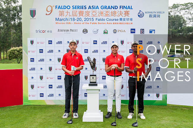Group 27 poses for a portrait during the 9th Faldo Series Asia Grand Final 2014 golf tournament on March 18, 2015 at Mission Hills Golf Club in Shenzhen, China. Photo by Xaume Olleros / Power Sport Images