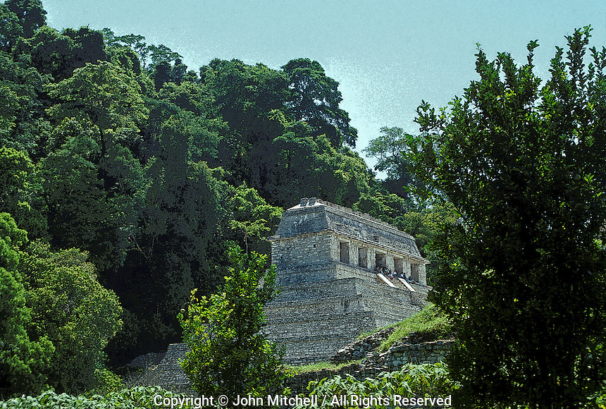 The Temple of the Inscriptions at the Mayan ruins of Palenque, Chiapas, Mexico. Digitally manipulated print.