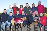 The from Lixnaw who were winners last Thursday in the annual Abbeyfeale Coursing. F l-r: Sean and Connor O'Keeffe, Darragh Sheahan, Sean Kelligher, John O'Keeffe, Kathleen Murphy. B l-r: Julianne O'Keeffe, Mick Galvin, Liz O'Keeffe, John Kelligher(Trainer), Val Burke and John Ryall.