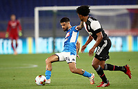 Napoli's Lorenzo Insigne, left, is challenged by Juan Cuadrado during the Italian Cup football final match between Napoli and Juventus at Rome's Olympic stadium, June 17, 2020. Napoli won 4-2 at the end of a penalty shootout following a scoreless draw.<br /> UPDATE IMAGES PRESS/Isabella Bonotto