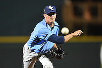 Charlotte Stone Crabs pitcher Justin McCalvin (14) delivers a pitch during a game against the Bradenton Marauders on April 22, 2015 at McKechnie Field in Bradenton, Florida.  Bradenton defeated Charlotte 7-6.  (Mike Janes/Four Seam Images)