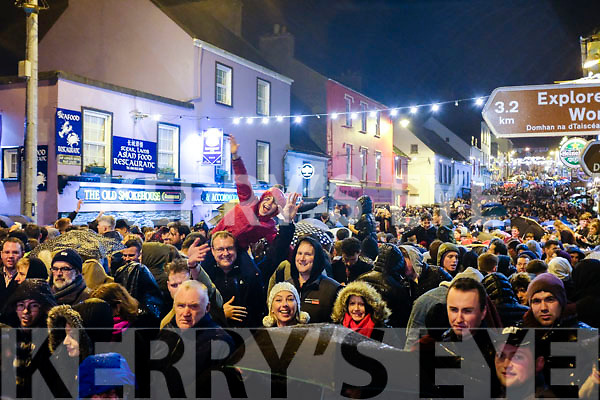 The crowd gathered at the Small Bridge in Dingle for the count-down.