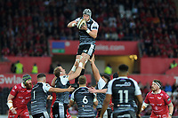 Dan Lydiate of Ospreys  claims the lineout during the Guinness Champions Cup play-off match between the Ospreys and Scarlets at the Liberty Stadium in Swansea, Wales, UK.  Saturday 18 May 2019