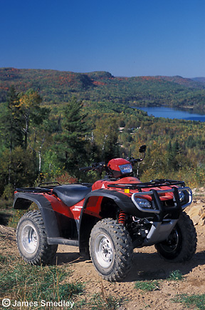 Summer recreation ATVs riding off trail