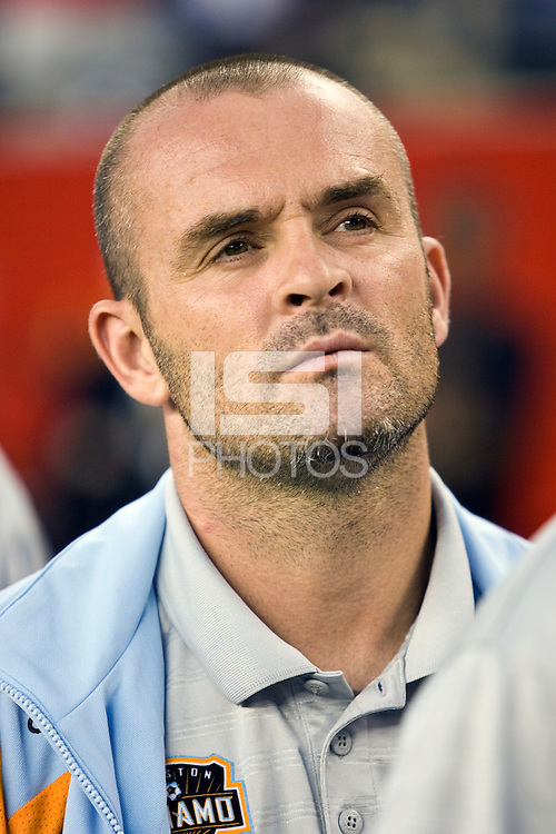 Houston Dynamo assistant coach John Spencer. The New England Revolution defeated the Houston Dynamo 2-2 (6-5) in penalty kicks in the SuperLiga finals at Gillette Stadium in Foxborough, MA, on August 5, 2008.