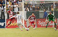 CARSON, CA – OCTOBER 24: LA Galaxy midfielder David Beckham kicks his goal shot during a soccer match at the Home Depot Center, October 24, 2010 in Carson, California. Final score LA Galaxy 2, Dallas FC 1.