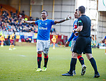 15.12.2019 Motherwell v Rangers: Alfredo Morelos celebrates his goal to the Rangers fans