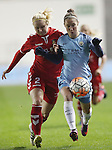 Jane Ross of Manchester City Women and Mie Jans of Brondby IF during the Champions League last 16 tie, first leg between Manchester City Women and Brondby IF at the Academy Stadium. <br /> <br /> Photo credit should read: Lynne Cameron/Sportimage