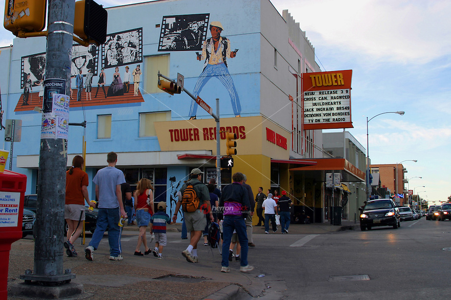 Tower Records; now defunct; was located on the drag across the street from the UT campus on Guadalupe Street in Austin, Texas, USA